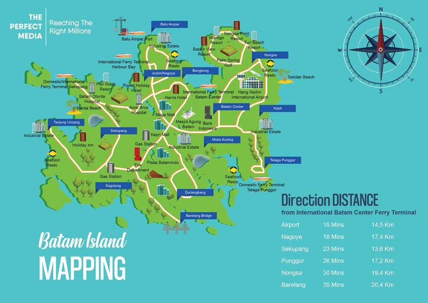 Peta Kota Batam beserta situs lokasi terkenal. Sumber: The Perfect Media