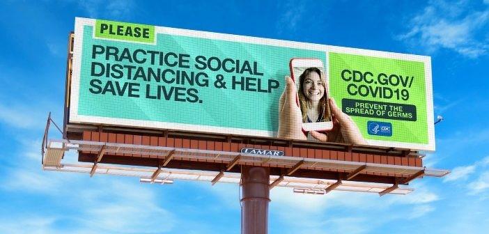 Iklan luar ruang kerjasama OAAA dan CDC untuk kampanye social distancing selama pandemi covid 19 di Amerika Serikat.