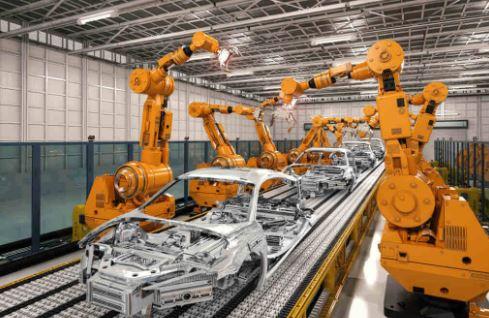 Mesin Robotik Pada Industri Otomasi Perakitan Mobil.  Sumber: Technavio