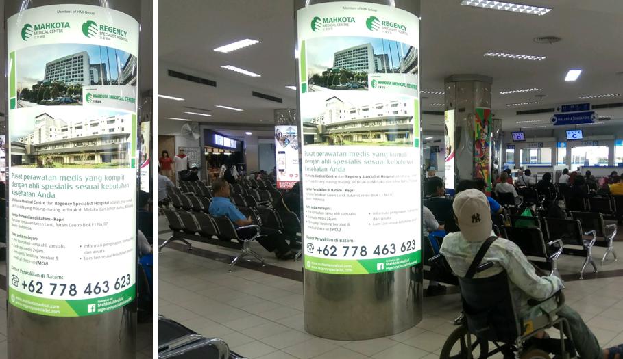 Lightbox Iklan Regency Hospital di Batam Center Point Ferry Terminal