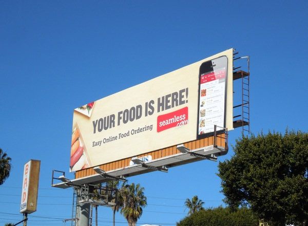 Billboard Iklan Layanan Seamless Food Delivery di West L.A