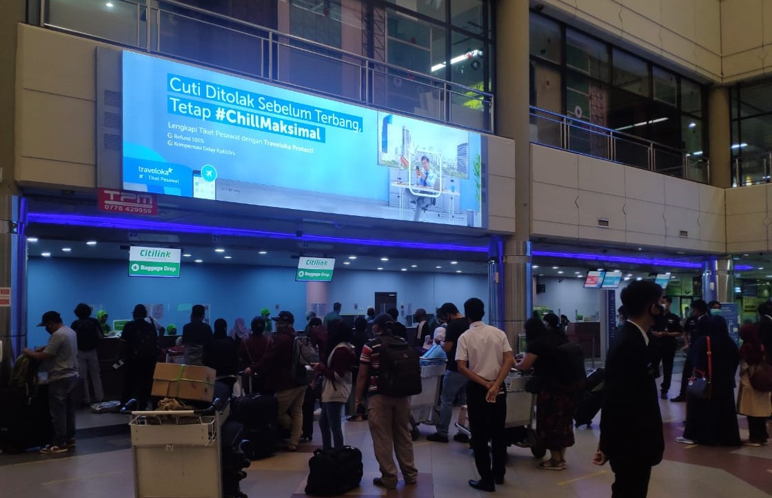 Suasana Check-in Counter Bandara Hang Nadim Agustus 2020