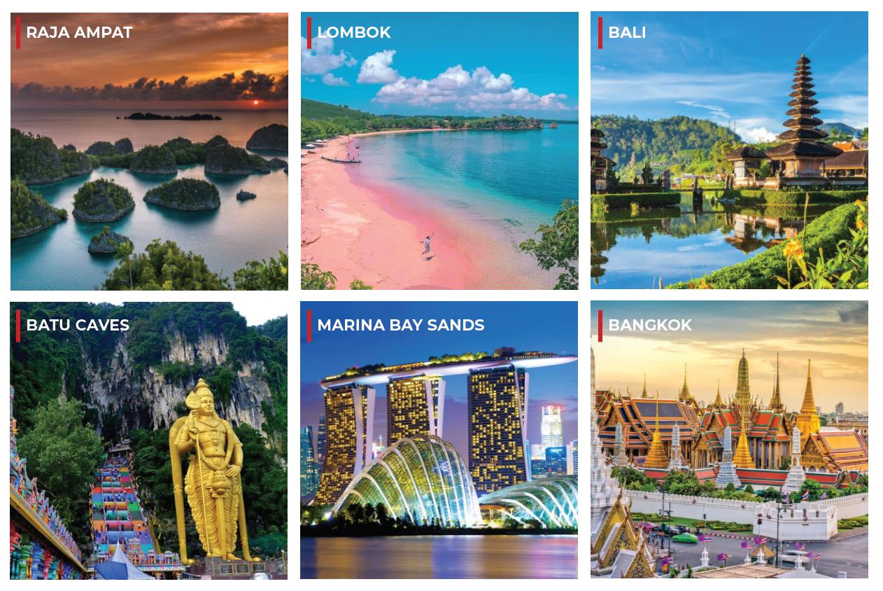 Destinasi-destinasi Wisata Lokal Asia Tenggara Populer