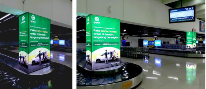Pillar Lightbox Gojek di Baggage Claim T1 A & B, Bandara Internasional Soekarno Hatta