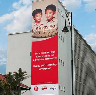 Tallest Billboard Banner in Singapore – Happy SG 50 Billboards