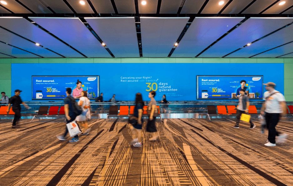 Traveloka billboard at Singapore Changi Airport
