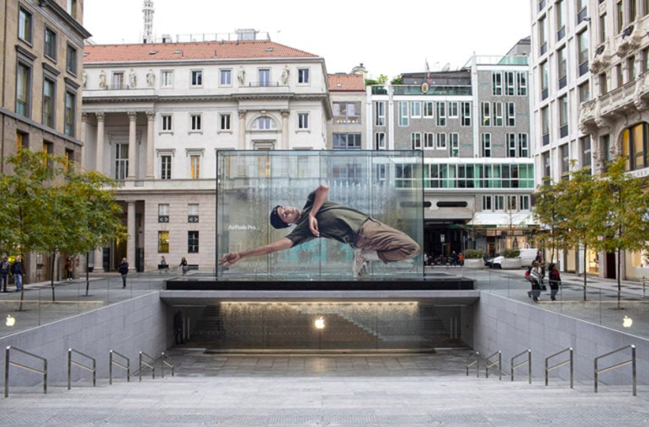 Milan outdoor advertising by Apple